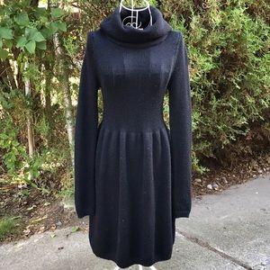Vince Cowl Neck Fit & Flare Black Sweater Dress